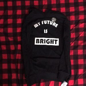 "black ""my future is bright"" hoodie"